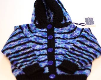 Baby Sweater, Hand Knitted, Size 2-3 Yrs, Striped, Hooded, Long Sleeves, Button Up, Baby Boy, Machine Wash, Gift, Unique, Blue, Black