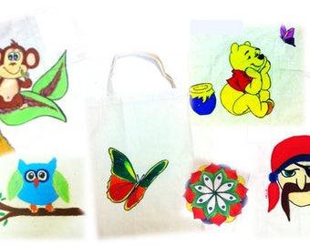 Handmade painted  handbags.