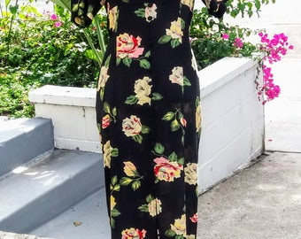 Vintage 90's floral print maxi dress with mandarin collar, fabric covered buttons down front, and lace up back