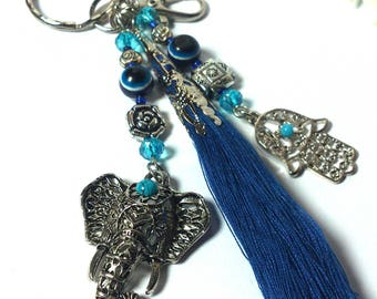 Keychain Tassel Silver / Blue Elephant Hand Fatima / Hamsa Hand Evil Eye - Fashion Keychain -Valentine Gift - For Girls / Women - Protection