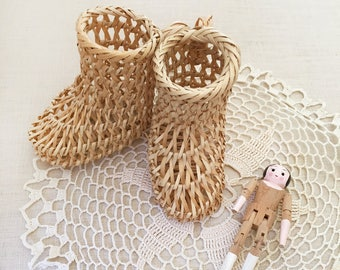 Pair Woven Cane Booties - Bohemian Boho Eclectic Jungalow Decor Style Home - baby child girl nursery room - wicker shoes dolls #0384
