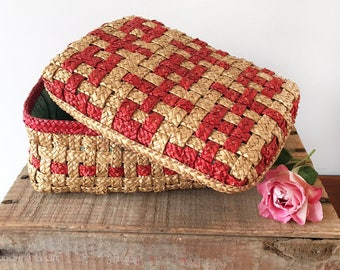 Vintage woven red straw sewing basket - sewing box - childrens girls room vintage childrens bohemian decor - cane rattan wicker #0584