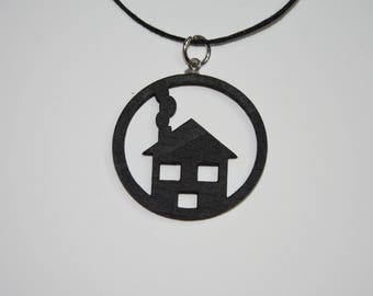 Necklace with wooden trailer House