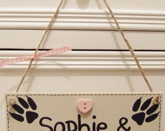 Handmade Personalised Pet Guinea Pig Hamster Gerbil Hutch Cage Wall Hanging Plaque Sign Any Pet Name Paw Shabby Chic Wooden Home Gift