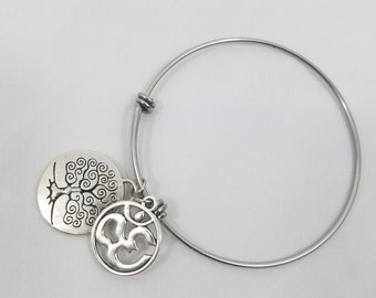 Ohm and tree of life adjustable bracelet