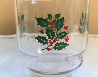 Vintage Christmas Holly and Berry Rocks Glasses set of 7