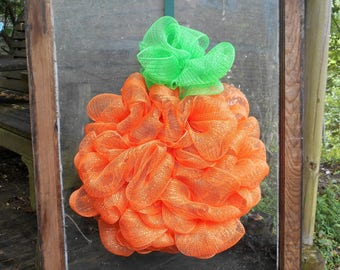Pumpkin Mesh Wreath/ Halloween Wreath/ Thanksgiving Wreath