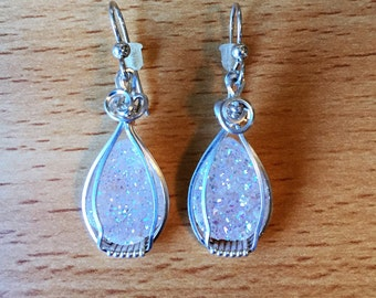 Drusy Quartz Earrings Wire Wrapped in Sterling Silver