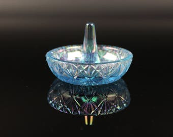 Fenton Carnival Blue Glass Ring Holder - Vintage