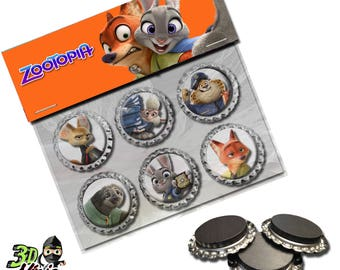 Zootopia Magnets | Bottle Cap Magnets | Party Favors | Gift