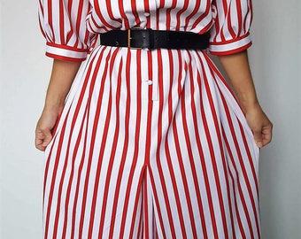 Dress / Vintage / stripes / red / white / made in France