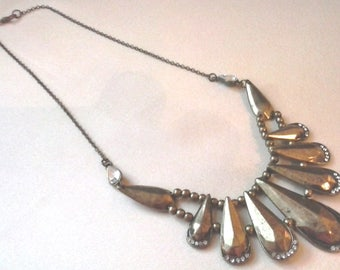 Vintage Brass Bib Necklace with antiqued finish--Pre-owned