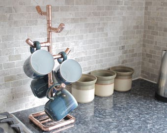 Copper cup tree/mug holder - Rustic kitchen, industrial copper pipe