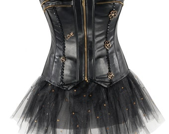Faux Leather Over Bust Corset and Mesh Tutu Set