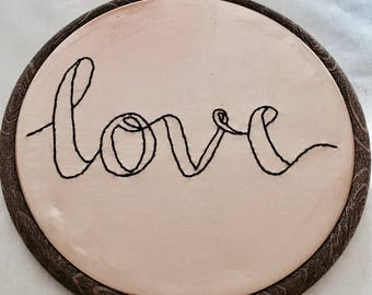 Rose gold, love embroidery hoop, Wedding gift, engagement gift
