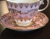 Gladstone China teacup pattern #5847 Pink with gold lace