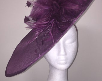 Large Purple fascinator perfect for races, weddings and special occasions