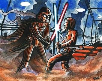 Luke vs Vader sketch card