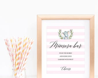 Baby Shower Mimosa Bar Sign Printable, Floral Elephant Baby Shower Decorations, Digital Download, Party Bar Sign, Baby Shower for Girl, LPE