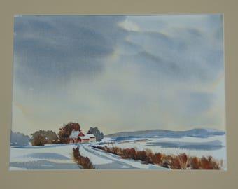 Winter's Eve Farm Scene original watercolor 16 x 20 including mat