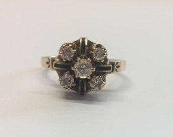 14ct Gold 5 Stone Diamond Ring - Unique Vintage Diamond Ring