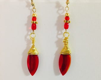 Wire Wrapped Red Acrylic Dangle Earrings