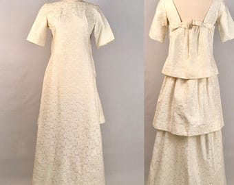 60s Ivory Brocade Wedding Dress Vintage Emma Domb Dead-Stock