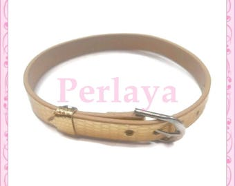 Set of 3 bracelets gold leatherette REF1112X3