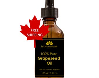 100% Pure Grapeseed Oil 100 ml - FREE SHIPPING - Skin Care and Massage Oil