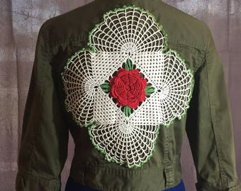 Peace Out! army green upcycled crochet blazer