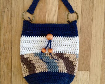 Crochet Drawstring Bag//Crochet Purse//Boho Bag