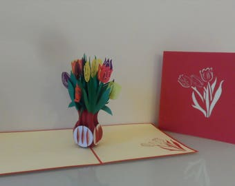 Vase of Tulips Pop up Card Birthday- Get Well- Anniversary- Blank