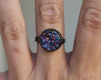 BUY 3 GET 1 FREE Mysterious Purple Metallic Druzy Ring, Gunmetal Ring, 12mm