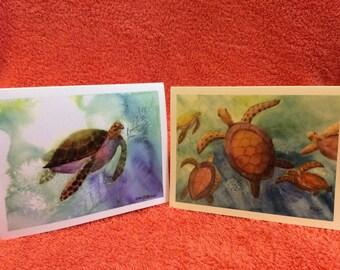 Note Cards Set  # 1  Hawaiian Turtles