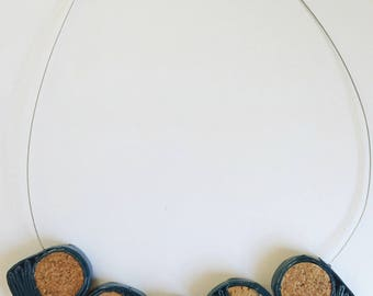 ROLHA - Paper & Cork - Five Circle Blue Necklace