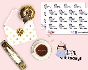 Sick Day Mini Planner Sticker, Nope Stickers, Flu Stickers, Not Today Planner Stickers, Scrapbook Stickers, Planner Accessories