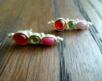 Fun sterling silver and cabochon post earrings