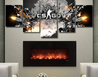 CS GO poster counter strike canvas game print artwork split canvas wall art large framed poster fan art bedroom living office