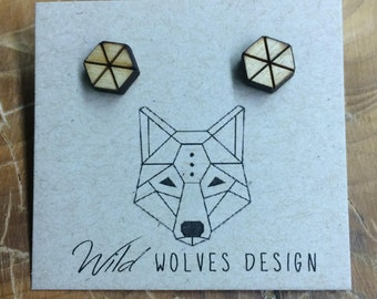 Pie Slice Wood Hex Stud Earrings