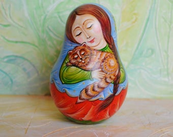 Rolly Polly Doll//Wooden Musical Toy//Collectible Wooden Doll//Girl and Сat//Matryoshka