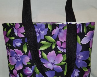 New Purple lavender black floral tote bag purse with no sag bottom