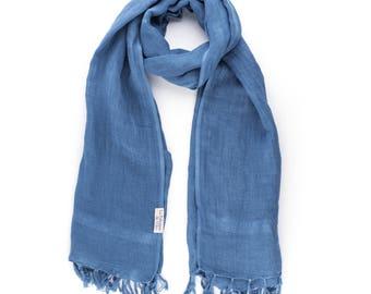Blue scarf / organic flax