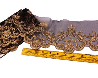 1 Yard, Trim, Embroidered, 5 inches wide, Black, Gold, Embroidered, Goth, Gothic, Costume, Dark Bridal