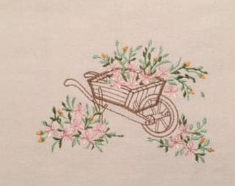 Flower Cart Tea Towel