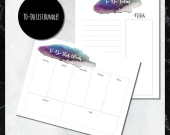 PRINTABLE To-Do List BUNDLE: Oil Slick Watercolor