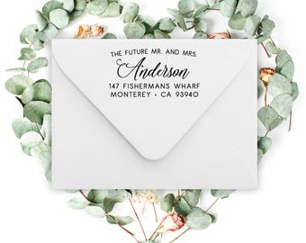Custom Address Stamp with Calligraphy, return address stamp, wedding stamp , holiday, housewarming gift, rubber stamp or self inking stamp