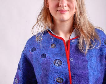 Blue felted coat