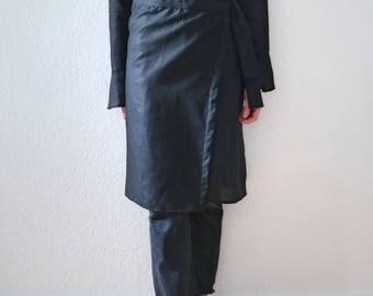 Linen Wrap Dress Black- Black Wrap Dress- Linen Dress