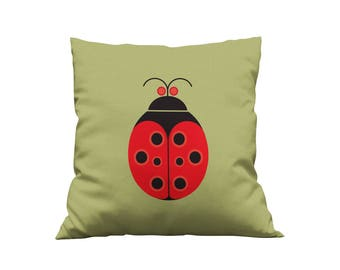 Nursery Pillow Cover, 20 x 20 Nursery Cushion Cover, Decorative Pillow, Ladybug Throw Pillow, Accent Pillow, Designer Pillow, Gift for Her