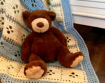 Baby blanket crochet, Blue/Cream/Grey Vintage Design, soft baby yarn, FREE USA shipping, baby shower gift, baby afghan blanket, newborn